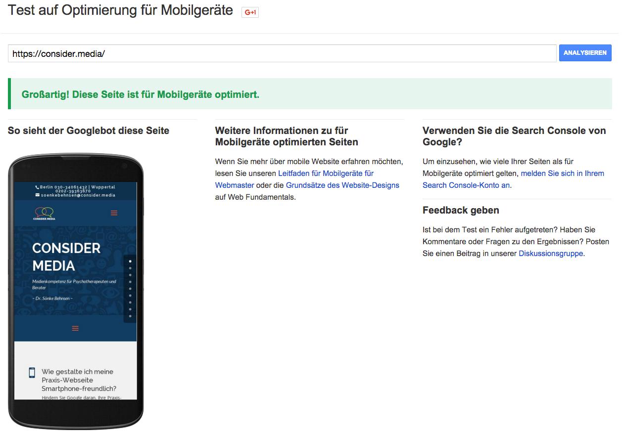 Die Google Testseite für Mobilgeräte-Optimierung